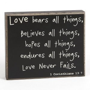 Love Never Fails Quote Box