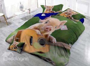 Pig Playing Guitar Bedding